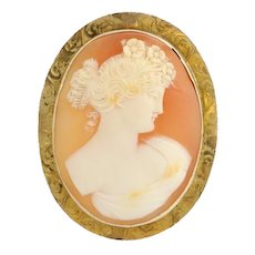 Carved Shell Cameo Brooch / Pendant - 10k Yellow Gold Finely Detailed Signed