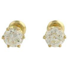 2.85ctw Old European Cut Diamond Earrings 18k Yellow Gold Vintage EGLUSA