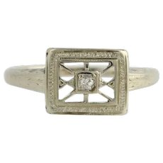 Vintage Diamond Ring - 14k White Gold Old Mine Cut Solitaire Genuine .03ctw