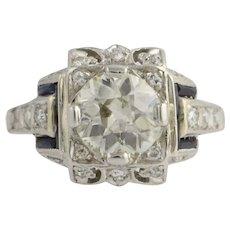 Art Deco Diamond & Sapphire Engagement Ring - Platinum Women's Fine 1.60ctw