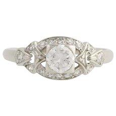Art Deco Era Diamond Engagement Ring - 900 Platinum Size 6 1/2 Genuine .68ctw