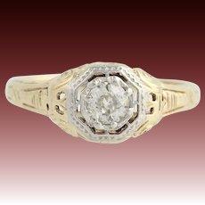 Art Deco Diamond Engagement Ring - 14k Yellow & White Gold Size 7 Genuine .28ctw