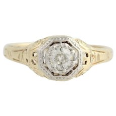 Art Deco Diamond Engagement Ring - 14k Yellow & White Gold Size 7 Genuine .28ctw