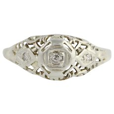 Art Deco Diamond Engagement Ring - 18k White Gold Old Mine Cut Genuine .04ctw