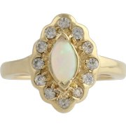 Synthetic Opal & CZ Cocktail Ring - 14k Yellow Gold Cubic Zirconia Fashion