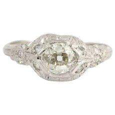 Art Deco Diamond Engagement Ring- 900 Platinum Old Mine Cut 5 3/4 Genuine .71ctw