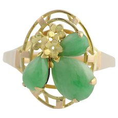 Floral Jadeite Cocktail Ring - 14k Yellow Gold Women's Size 6 Genuine 1.46ctw