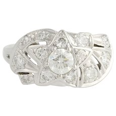 Retro Diamond Cocktail Ring - 14k White Gold Star Design 9 1/4 Genuine 1.23ctw