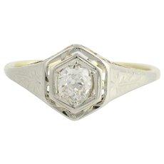 Art Deco Diamond Engagement Ring - 14k Yellow Gold & 18k White Gold Fine .35ctw
