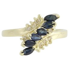 Sapphire & Diamond Bypass Ring - 14k Yellow Gold September 6 3/4 Genuine .72ctw