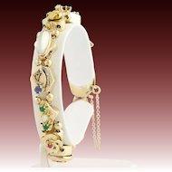 "Vintage Slide Bracelet 6 1/2"" - 14k Yellow Gold Gemstones, Pearls, Lava Cameo"