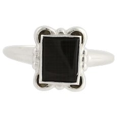Vintage Onyx Ring - 10k White Gold Women's Size 6 3/4