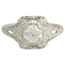 Art Deco Diamond Ring - Platinum Filigree European Cut Engagement .68ctw