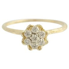 Floral Diamond Cluster Ring - 14k Yellow & White Gold .03ctw
