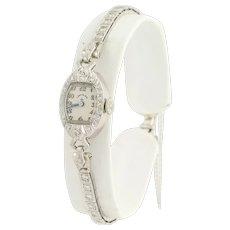 "Art Deco Lady Elgin Diamond Wristwatch 6 1/4"" - 900 Platinum & 14k Gold .70ctw"