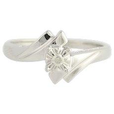 Diamond Bypass Ring - 10k White Gold Solitaire Women's .05ct
