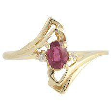 Ruby & Diamond Bypass Ring - 10k Yellow Gold July .43ctw