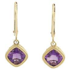Amethyst Dangle Earrings - 14k Yellow Gold Women's Pierced Solitaire 1.64ctw