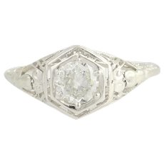 Art Deco Diamond Engagement Ring - 18k White Gold European Cut .60ct