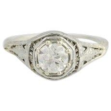 Art Deco Diamond Engagement Filigree Ring - 18k White Gold Euro .72ct