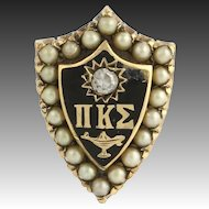 Pi Kappa Sigma- sorority 10k Gold Pearl Diamond Pin