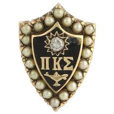 Pi Kappa Sigma- sorority 10k Gold Pearl Diamond Pin