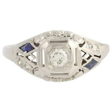 Art Deco Diamond & Synthetic Sapphire Engagement Ring - 18k Gold Vintage .22ctw