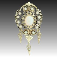 Victorian Revival Opal Pendant - 18k Yellow Gold October Birthstone 3.62ctw