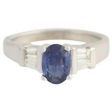Sapphire & Diamond Engagement Ring - 14k White Gold September 1.12ctw