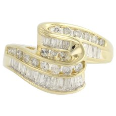Diamond Bypass Ring - 14k Yellow & White Gold Baguette Cut 1.00ctw