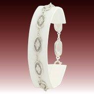 """Floral Art Deco Bracelet - 14k White Gold Vintage 8"""" Chain Flower Etched Women's"""