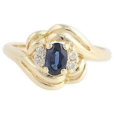 Sapphire & Diamond Bypass Ring - 14k Yellow Gold September Birthstone .72ctw