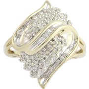 Diamond Cluster Cocktail Ring - 10k Yellow & White Gold .25ctw