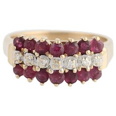 Tiered Ruby & Diamond Ring - 10k Rose & White Gold July Birthstone 1.15ctw