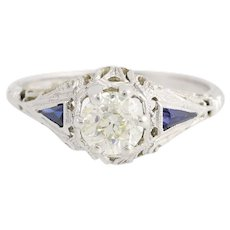 Art Deco Diamond & Synthetic Sapphire Engagement Ring - 18k Gold European .71ct