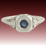 Art Deco Sapphire & Diamond Ring - 18k White Gold Vintage .62ctw