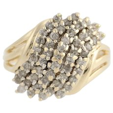 Diamond Cluster Bypass Ring - 14k Yellow Gold Size 7 1/2 Women's .75ctw