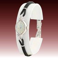Vintage 1960s Lady Elgin Wristwatch - 14k White Gold Mechanical Movement .22ctw