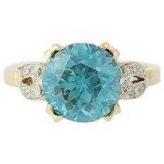 Blue Zircon Ring - 14k Yellow Gold Diamond Accents Retro Round Solitaire 8.24ctw