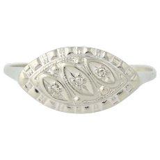 Vintage Diamond-Accented Ring - 14k White Gold Women's Gift .02ctw
