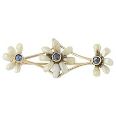 Vintage Freshwater Pearl & Sapphire Brooch- 14k Yellow Gold Flower Design .15ctw
