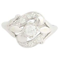 Retro Diamond Ring - 14k White Gold European Cut Vintage .42ctw