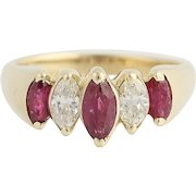 Tiered Ruby & Diamond Ring - 14k Yellow Gold Marquise Cut July Gift 1.42ctw