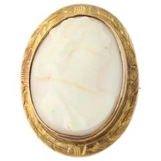 Vintage Carved Shell Cameo Brooch - 10k Yellow Gold Silhouette Pin