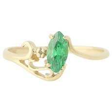 Green CZ Solitaire w/ Accent - 10k Yellow Gold Marquise Cubic Zirconia Bypass