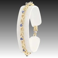 "Sapphire Link Bracelet 6 3/4"" - 14k Yellow Gold September Birthstone 1.20ctw"