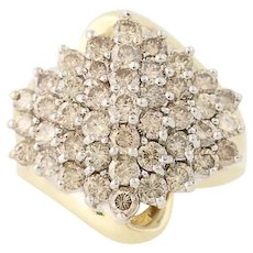 Diamond Cluster Cocktail Ring - 10k Yellow & White Gold Bypass Tiered 3.00ctw