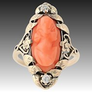 Edwardian Carved Coral & Diamond Ring - 10k Yellow Gold Cameo Mine Cut .10ctw
