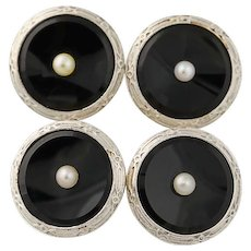 Vintage Onyx & Seed Pearl Cufflinks - 14k Yellow Gold & Platinum Men's Accessory