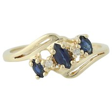 Sapphire & Diamond Bypass Ring - 14k Yellow Gold September Birthstone .46ctw